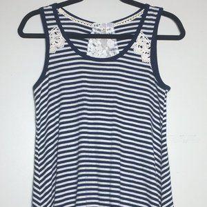 Jolt Blue Striped Lacy Tie Back Tank Top Size S